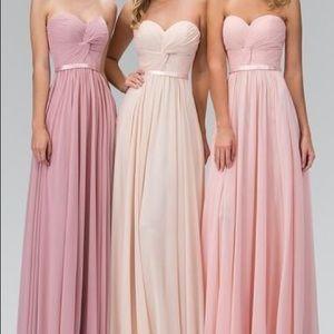 Blush Chiffon Twisted Corset Bridesmaid Dress
